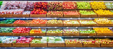 Foto für Fresh fruits and vegetables on shelf in supermarket. For healthy concept - Lizenzfreies Bild