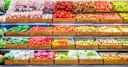 Photo pour Fresh fruits and vegetables on shelf in supermarket. For healthy concept - image libre de droit