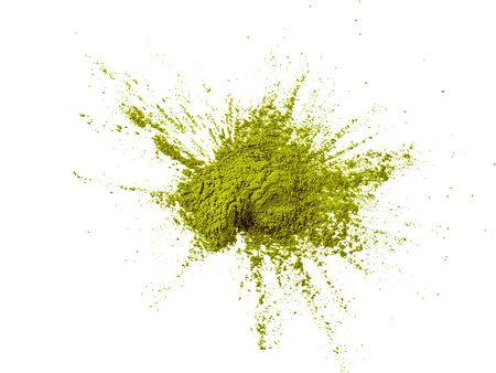 Photo pour Green matcha tea powder on white background. Powdered maccha tea explosion, isolated on white with clipping path. Top view or flat lay. - image libre de droit