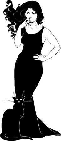 illustration of lady in black with cat.  Large JPG included
