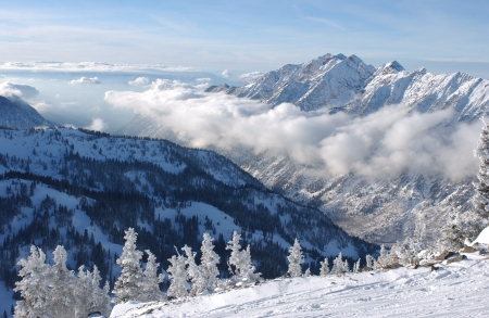 Mountains view from summit of Snowbird skiing resort, Utah