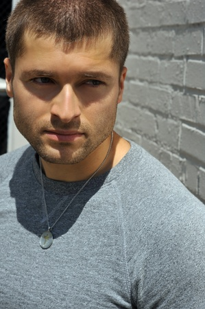 Male actor headshot showing action movie charackter