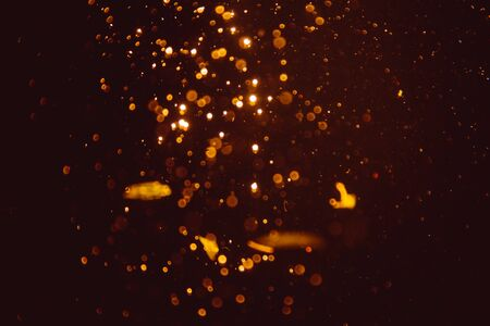 Photo for Abstract gold defocus bokeh glitter vintage lights with black background - Royalty Free Image