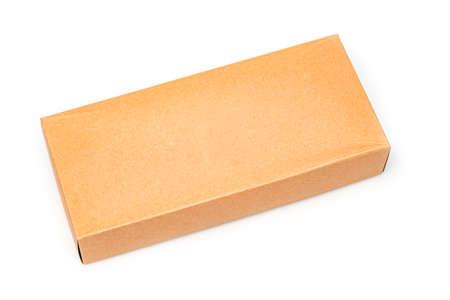 Foto de Close up Cardboard box isolated on a white background - Imagen libre de derechos