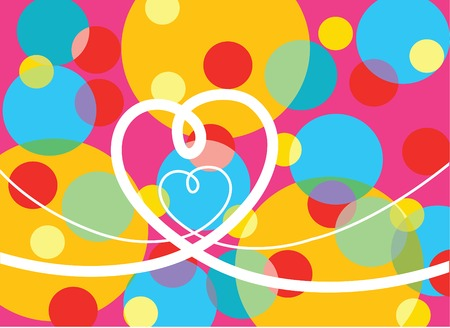 retro pop dots and loopy hearts (vector) - illustration