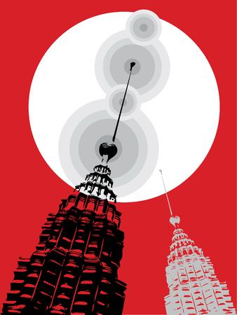 petronas towers pop art on red (vector) - illustration