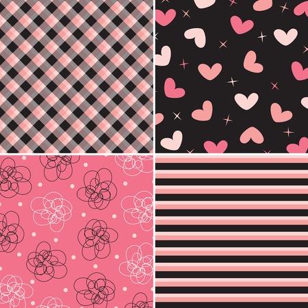 Ilustración de pink and black pattern combo (vector) - Imagen libre de derechos
