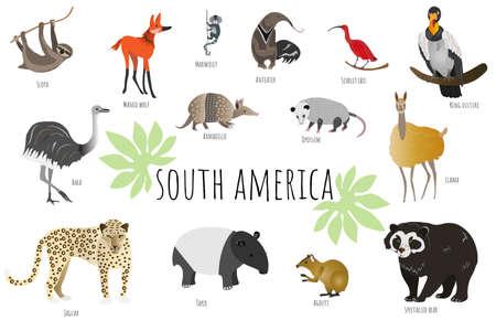 Illustration pour Vector collection with south american animals. Illustration with cute animals for children. - image libre de droit