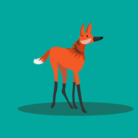 Illustration pour Maned wolf standing on a green background. Animals of south america. - image libre de droit