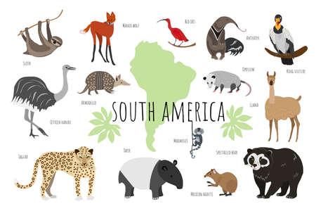 Illustration pour Vector collection with south american animals. Illustration with cute animals for children. Sloth, marmoset, anteater, ibis, maned wolf, tapir, llama, jaguar, rhea, agouti, bear, opossum, armadillo. - image libre de droit