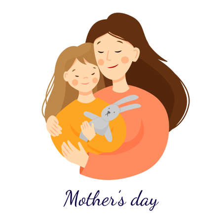 Illustration for Vector flat illustration for mothers day. Mom hugs her daughter, daughter holding a hare toy. Parent-child relationship. Scene isolated on a white background. - Royalty Free Image