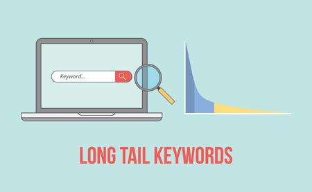 Illustration pour long tail keywords with laptop and graph chart illustration vector illustration - image libre de droit