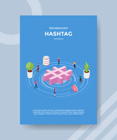 technology hash tag people standing around hash tag for template of banner and flyer for printing magazine cover and poster with flat style