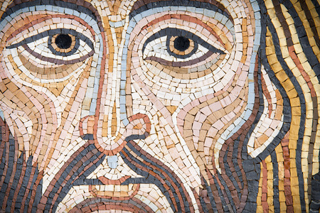 Photo for Jesus Christ in a modern mosaic made with ancient techniques. The mosaic has been made by a sicilian artist (release is provdided) , and it looks like the Pantokrator in cethedrals. - Royalty Free Image
