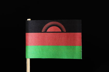 A original  flag of Malawi on toothpick on black background. Consists of a horizontal triband of black, red and green. Charged with a red rising sun with 31 rays centred on the black stripe.
