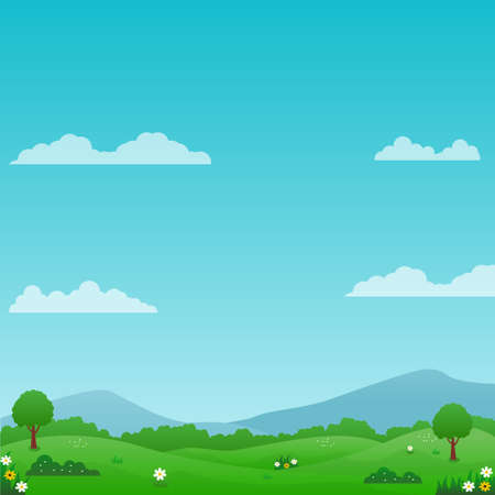Illustration pour Beautiful nature landscape vector illustration with bright sky, green meadow and flowers suitable for summer background or kids background - image libre de droit