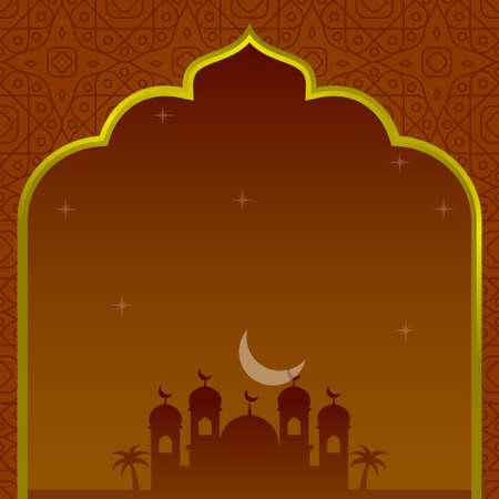 Illustration pour Islamic template background with mosque silhouette and orange color suitable for ramadan card - image libre de droit