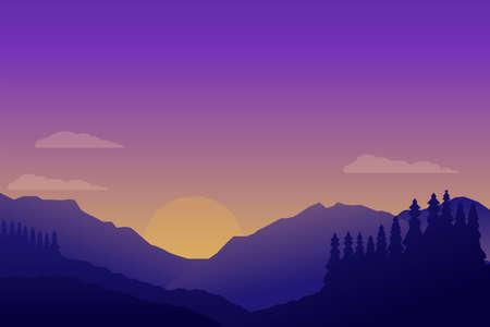Illustration pour Beautiful sunset at mountain landscape scene vector illustration with minimalist design and purple color suitable for background or wallpaper - image libre de droit