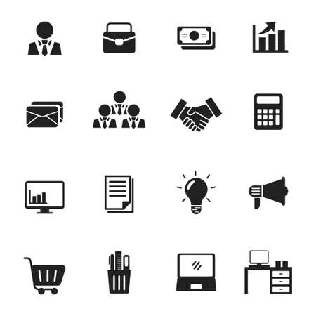 Illustration for Set of business and office icon collection with black design isolated on white background - Royalty Free Image