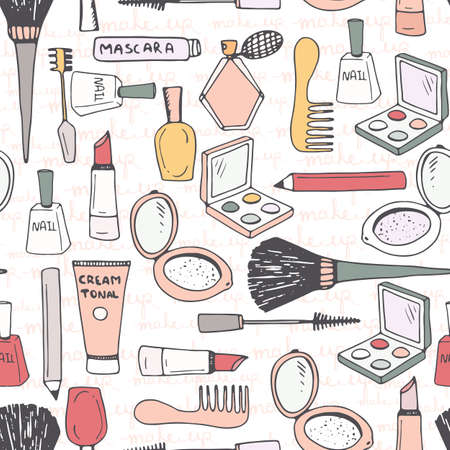 Illustration pour Hand drawn seamless pattern with different make up accessories - eye shadow, lipstick, mascara, brush, powder, perfume, etc. Vector beauty background. - image libre de droit
