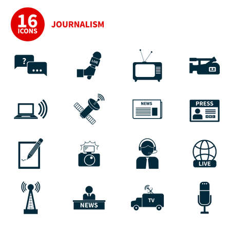 Set of vector journalism icons. Modern flat symbols of journalism including computer, news, reporter, camera, accreditation, pencil and notebook.
