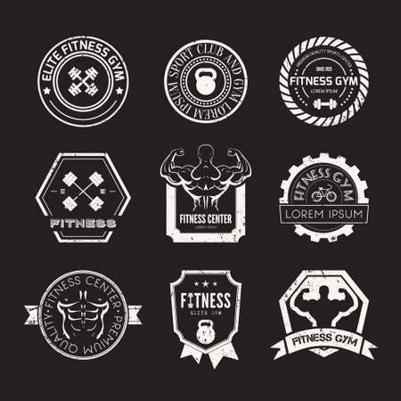 Set of different sports and fitness templates. Athletic labels and badges made in vector. Bodybuilder, fit man, athlet icon.