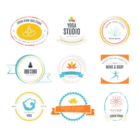 Set of logos for yoga studio or meditation class. Modern fitness badges collection made in vector. Yoga vector logotype template. Healthcare, sport, fitness, spa logo design elements. Anusara, ashtanga, bikram, hatha, hot yoga, vinyasa symbols.