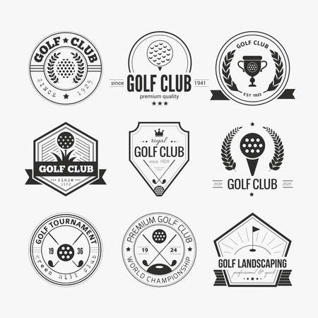 Set of golf club templates. Hipster sport labels with sample text. Elegant vintage icons for golf tournaments, organizations and golf clubs. Vector
