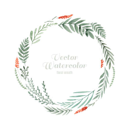 Illustration pour Hand painted watercolor wreath.  - image libre de droit