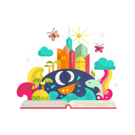 Illustration pour Creativity and imagination concept - open book with magical city inside. Ship, palm trees, tropical island, modern buildings and rainbow. Modern flat vector. - image libre de droit