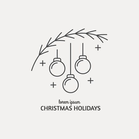 Unique modern logotype with christmas tree and christmas balls made in modern line style vector. Easy to use business template. Christmas series.