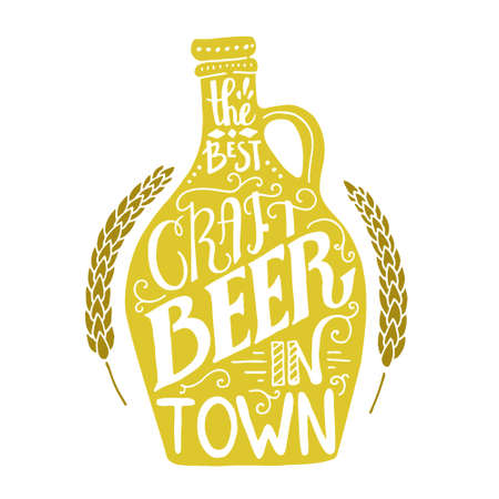 Unique handdrawn poster with craft beer mug - unique handdrawn lettering on brewery theme. Fantstic illustration for pub menu, announcement of the beer festival or brewery poster made in vector.