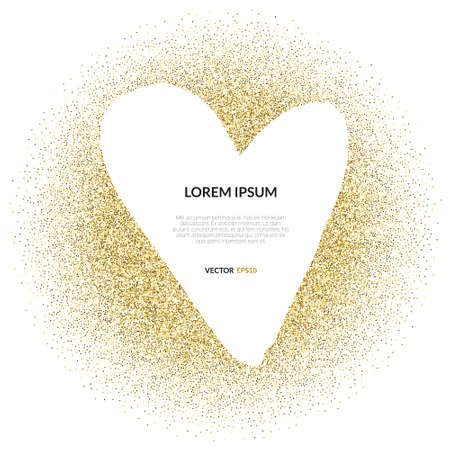Ilustración de Abstract vector background with gold glitter and a shape of a heart. 100% vector - easy to use and edit. Gold sparkles isolated on white with place for your text. Design for wedding card, valentine, save the date. - Imagen libre de derechos