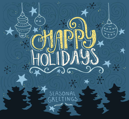 Illustration for Handdrawn postcard or greeting card design element with unique lerreting. Happy Holidays typography. Vector art. - Royalty Free Image