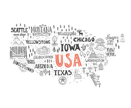 Illustration pour Handdrawn illustration of USA map with hand lettering names of states and tourist attractions. Travel to USA concept. American symbols on the map. Creative design element for tourist banner, apparel design, road trip event design. - image libre de droit