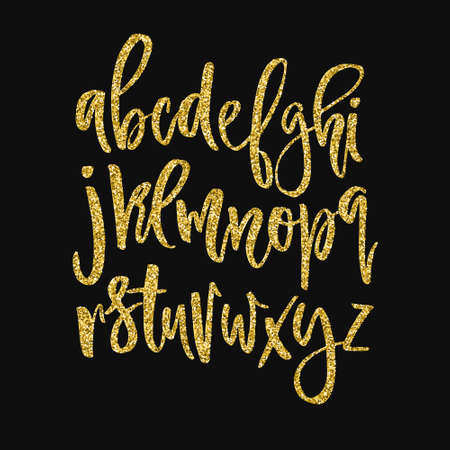 Illustration pour Golden glitter alphabet. Unique glowing vector font. Handdrawn calligraphy font. Glowing vector letters. - image libre de droit