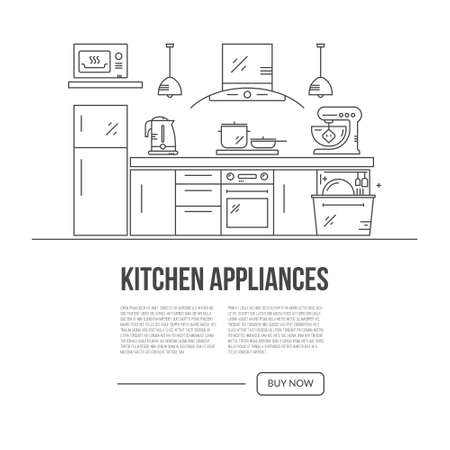 Illustration Of Modern Kitchen With Different Kitchen And