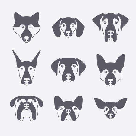 Ilustración de Creative portrait collection of different dog breeds, including german sheepherd, labrador, doberman, husky. Dog faces. Modern illustration of veterinarian clinic, dog breeder logo. - Imagen libre de derechos