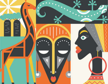 Graphical illustration of african symbols made in flat style vector. Welcome to Africa concept.のイラスト素材
