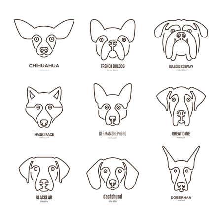 Illustration pour collection of different dog breeds, including german sheepherd, labrador, doberman, husky. Dog faces. Modern illustration of veterinarian clinic, dog breeder. - image libre de droit