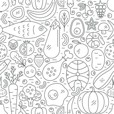 Photo pour Seamless vector pattern with healthy food. Paleo diet background. Healthy lifestyle illustration. - image libre de droit