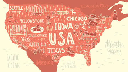 Handdrawn illustration of USA map with hand lettering names of states and tourist attractions. Travel to USA concept. American symbols on the map. Creative design element for tourist banner, apparel design, road trip event design.