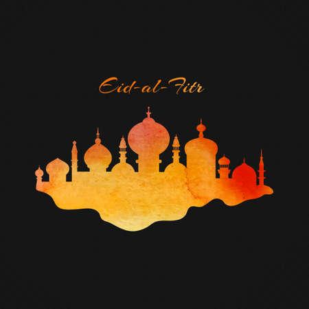 Illustration pour Islamic city with watercolor texture - vector design element for muslim community Ramadan Kareem or Eid Al Fitr. - image libre de droit