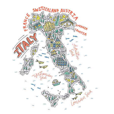 Vector illustration of the cartoon map of the Italy with doodle symbols and lettering.