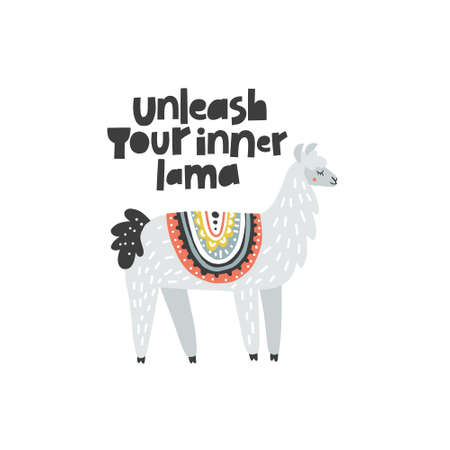 Illustration pour Unleash Your Inner Lama - inspirational vector illustration of adorable lama with lettering. Ideal for poster cards, invitations, decoration, etc. - image libre de droit