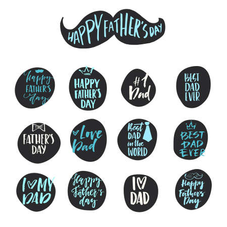 Illustration pour Unique hand lettering design for fathers day. Hand crafted lettering for apparel design, postcard, mug or poster. Textured vector art. Happy fathers day vector element. - image libre de droit