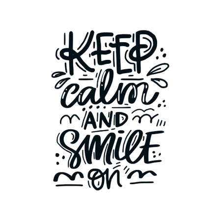 Illustration pour Hand drawn lettering with dental care quote. Typography design for medical cabinet. Keep calm and smile on. - image libre de droit