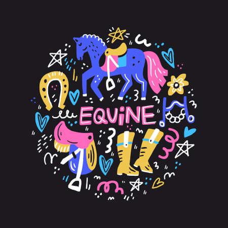 Illustration pour Circle concept with symbols of dressage. Horse riding illustration. - image libre de droit