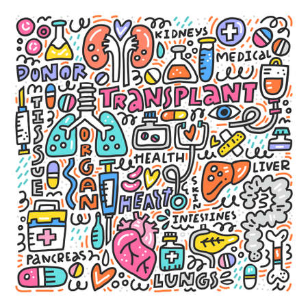Illustration pour Human organs for surgeries and  transplantation. Medicine handdrawn icons. Vector illustration made in doodle style, colourful design. - image libre de droit