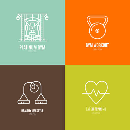 Ilustración de Icon collection of different fitness and gym objects. Healthy lifestyle vector. Bodybuilding and sport line series. - Imagen libre de derechos